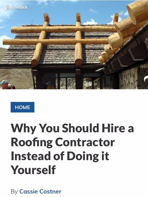 Why You Should Hire a Roofing Contractor Instead of Doing it Yourself
